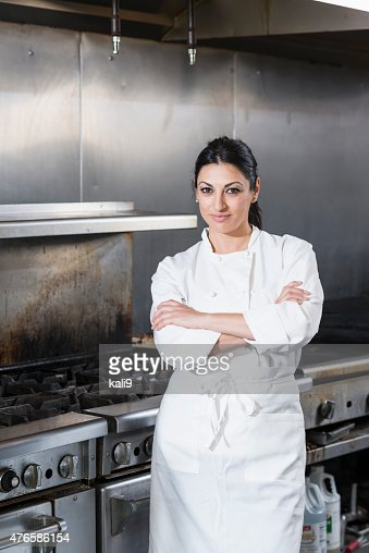 Female chef in a commercial kitchen
