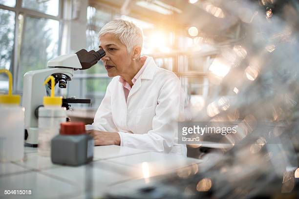 Female chemist analyzing something through a microscope in laboratory.