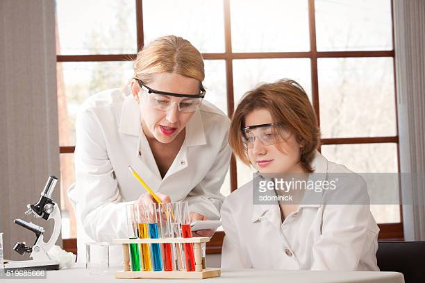 Female Chemistry Teacher And Student In Lab