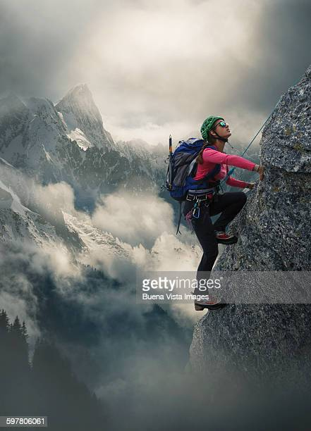 Female climber on a rocky wall