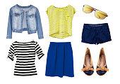 Bright fashion modern female woman's wear set  isolated.Stylish shop wear.Wardrobe glamour apparel & accessories collage.