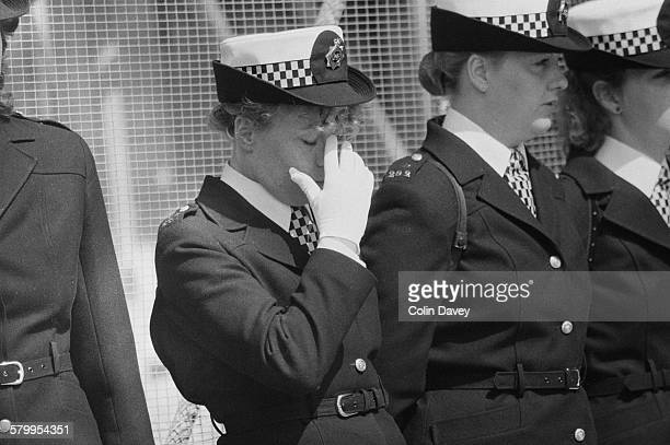 Female colleagues at the funeral of British police officer Yvonne Fletcher at Salisbury Cathedral England 27th April 1984 Fletcher was shot and...