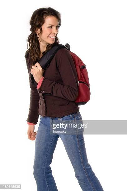 Collège étudiant de femme avec sac à dos