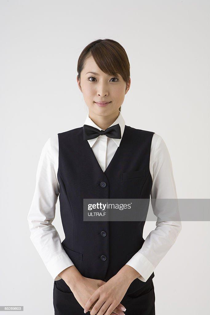 Female concierge's portrait.