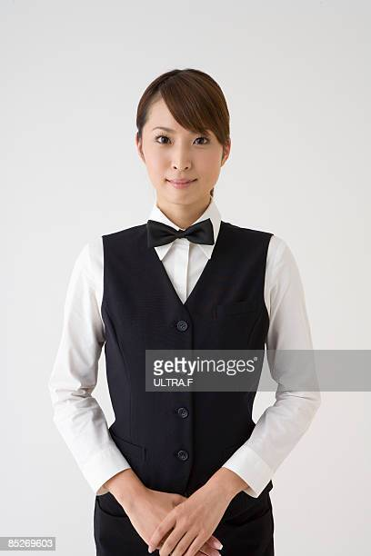 Female concierge's portrait.