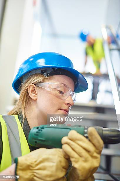 female construction worker at work