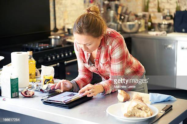 female cook on tablet