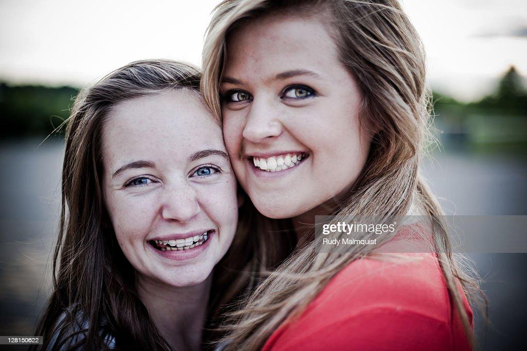Female cousins smiling