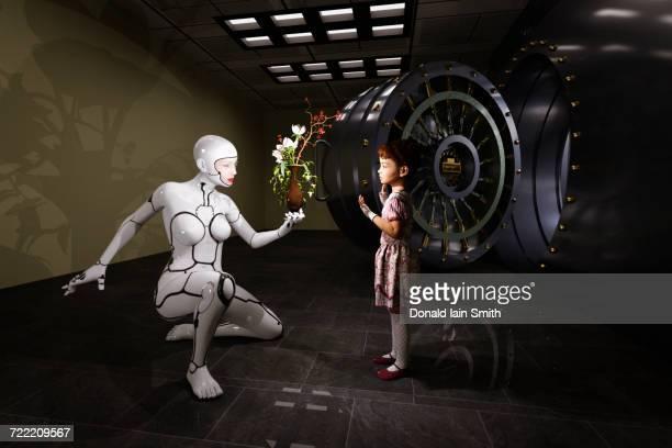 Female cyborg presenting flowers in vase to girl near vault