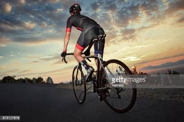 Female cyclist out on an early ride