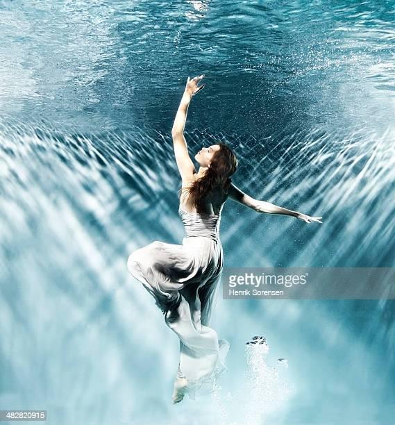 Female dancer under water