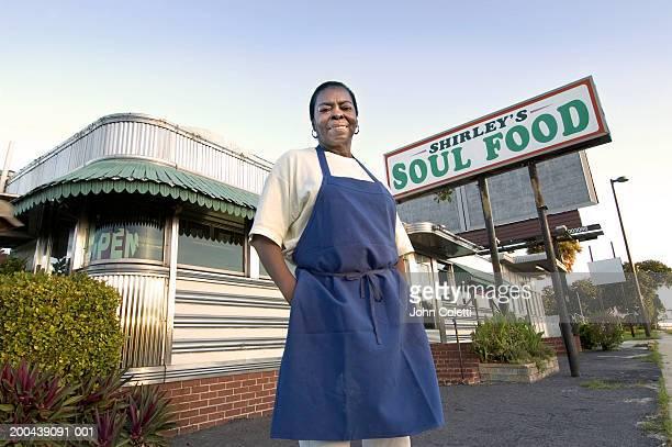 Female diner owner, portrait