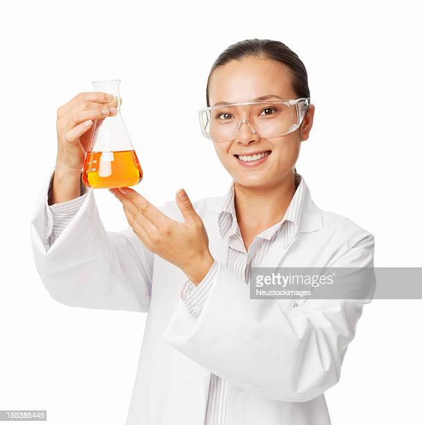 Female Doctor Holding a Conical Flask - Isolated