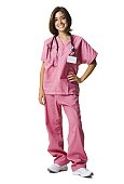 Female doctor in pink scrubs