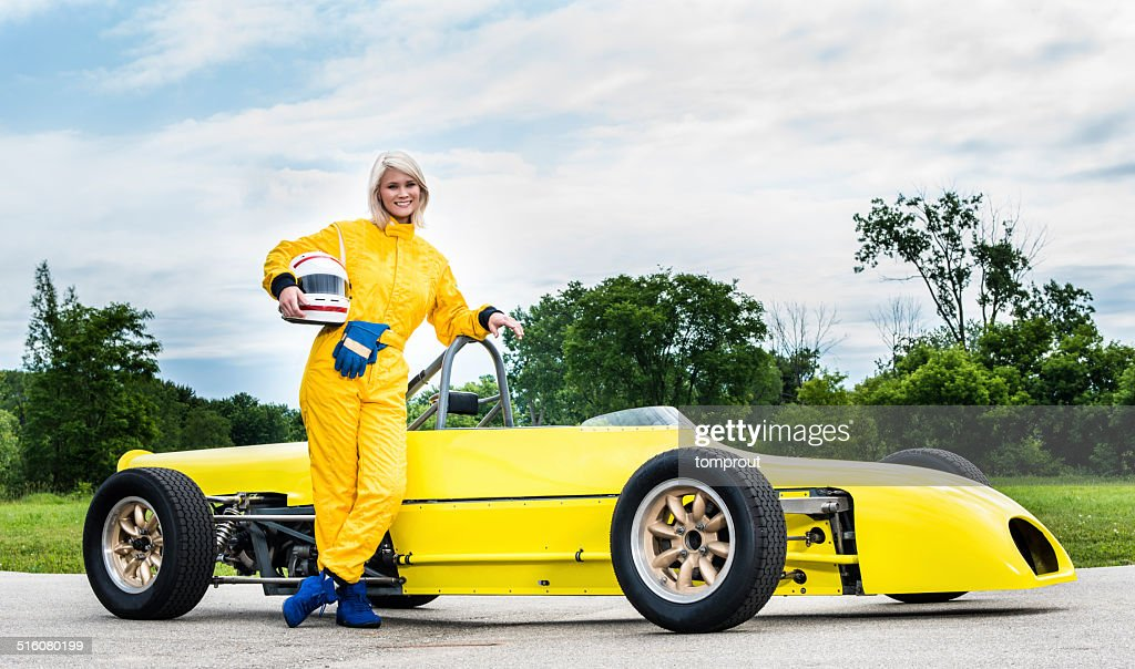 Female Racecar Driver with a Formula Ford