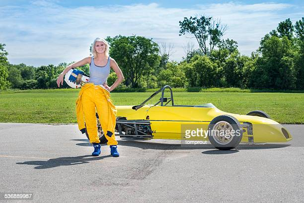 Female Driver with a 'Formula Ford' Class Racecar