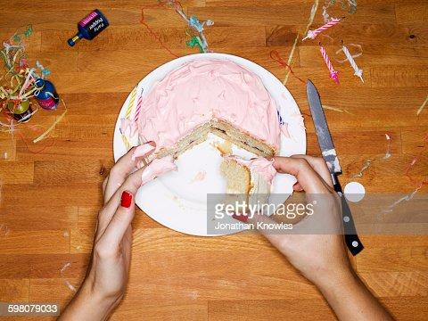 Female eating cake