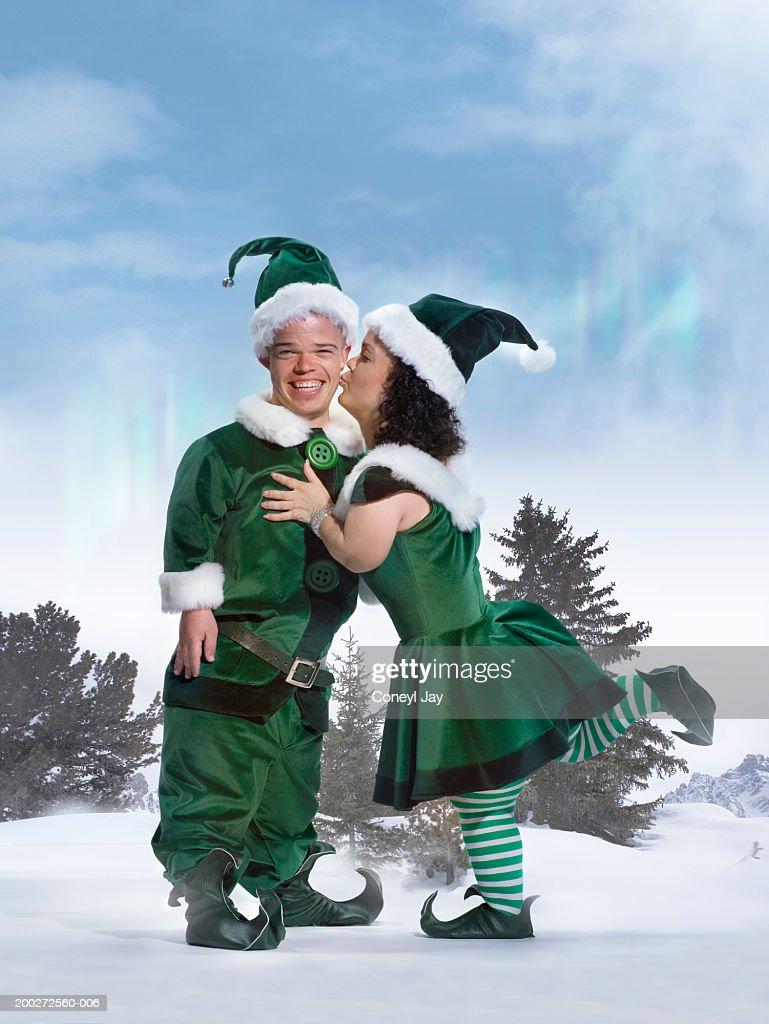 Female Elf Kissing Male Elfs Cheek Portrait Stock Photo ...