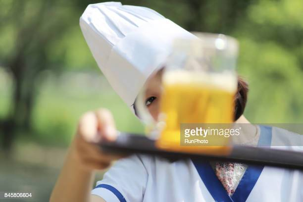 Female employees who are serving beverages