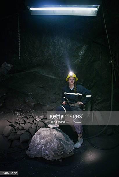Female engineer below ground in a zinc mine