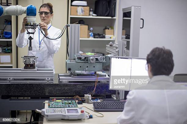 Female engineers in research lab