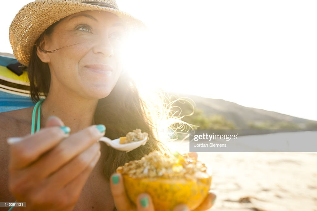 A female enjoying a day at the beach. : Stock Photo