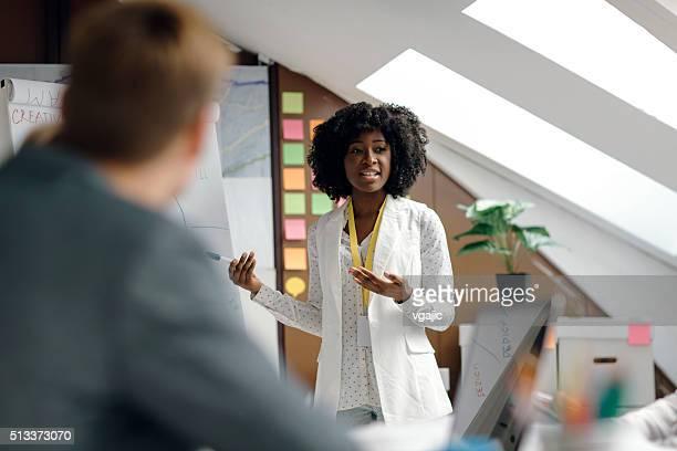 Female Entrepreneur Doing Presentation In Office.