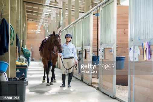 Female equestrian standing in stable with horse : Stock Photo