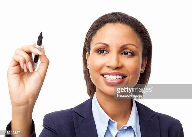 Female Executive Writing On Transparent Wipe Board - Isolated