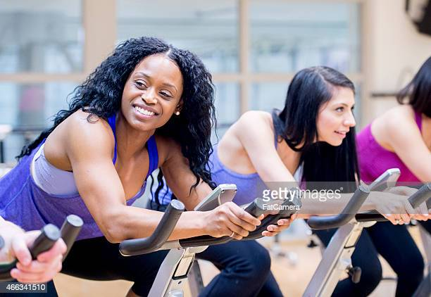 Female Exercise Spinning Class
