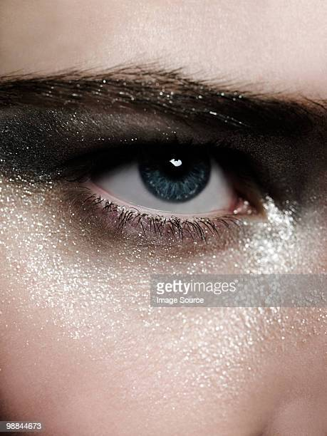 Female eye with silver make up