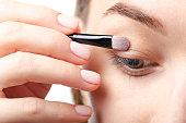 Female eyelids eye shadow brush beauty macro