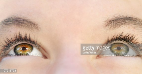 Female Eyes Looking up : Stock Photo
