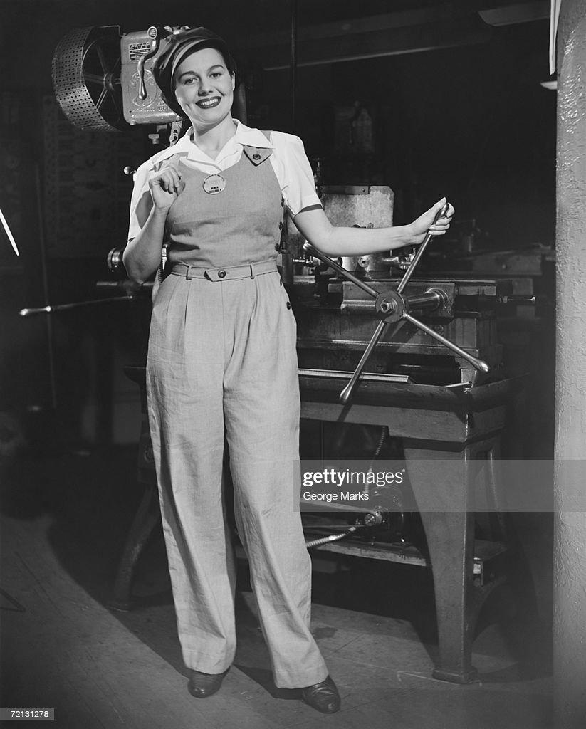 Female factory worker (B&W), portrait : Stock Photo