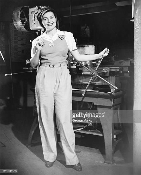 Female factory worker (B&W), portrait
