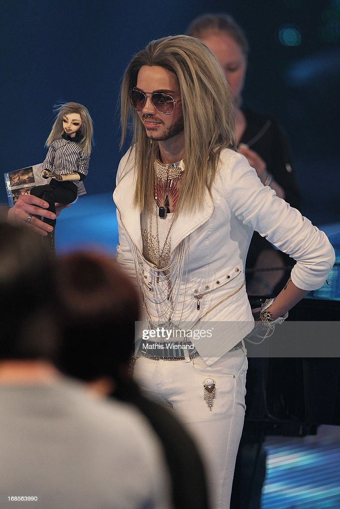 A female fan impersonates jury member Bill Kaulitz at the 'Deutschland sucht den Superstar' Finals on May 11, 2013 in Cologne, Germany.