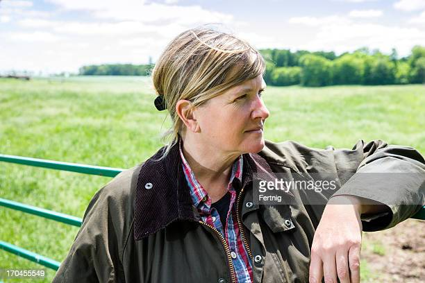 Female farmer with a thoughtful expression