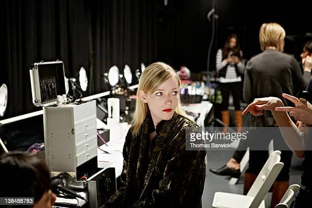 Female fashion model backstage at fashion show