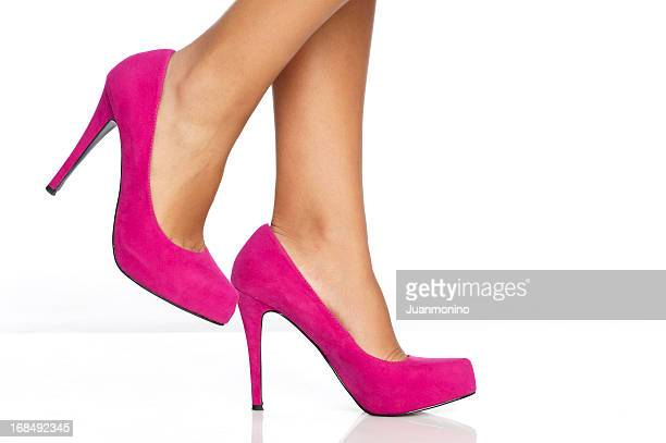 Female Feet Walking in Pink High Heeled Shoes