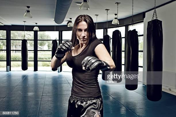 Feminino Lutador durante a sessão de treino