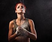Female fighter, preparing to fight