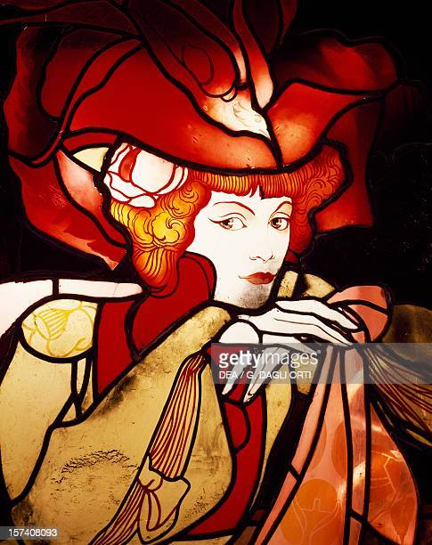 Female Figure 19011902 detail from stainedglass by Georges de Feure Art Noveau style France 20th century
