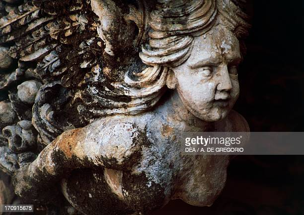 Female figure detail of a balcony from Nicolaci di Villadorata Palace Noto Sicily Italy
