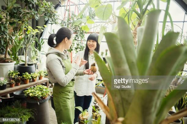 女性の花屋フラワー ショップで顧客を支援