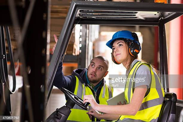 female forklift driver training