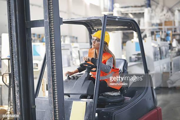 Female forklift operater