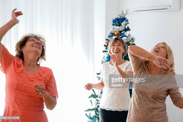 Female friends at christmas party