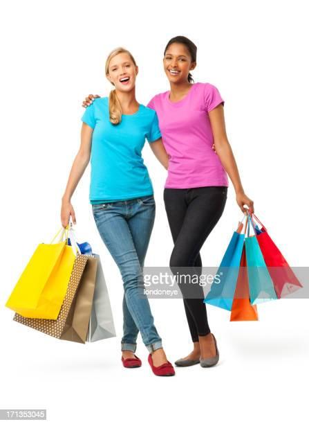 Femmina amici che trasportano borse della spesa isolati