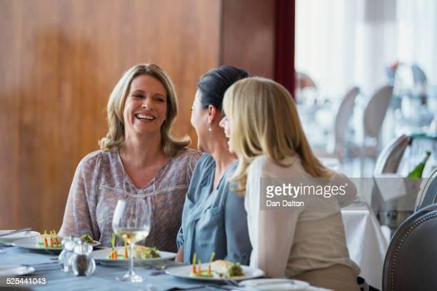 Female friends enjoying meal in restaurant