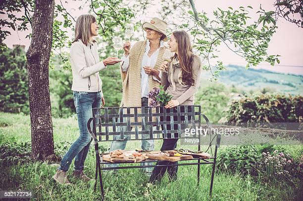 Amies et femmes ayant un pique-nique à Goriška SDRB, la Slovénie